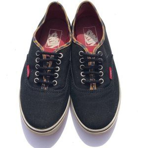Vans Authentic Lo Pro Sneakers- black/leopard 6.5